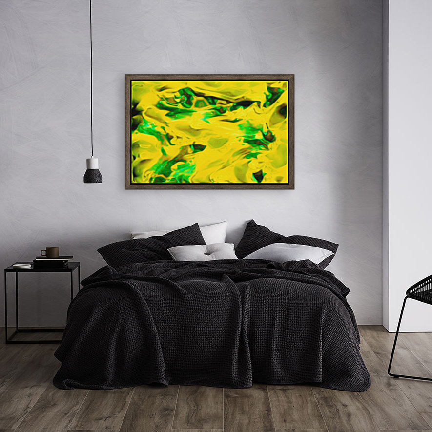 Golden Synchronicities - gold green abstract swirl wall art  Art