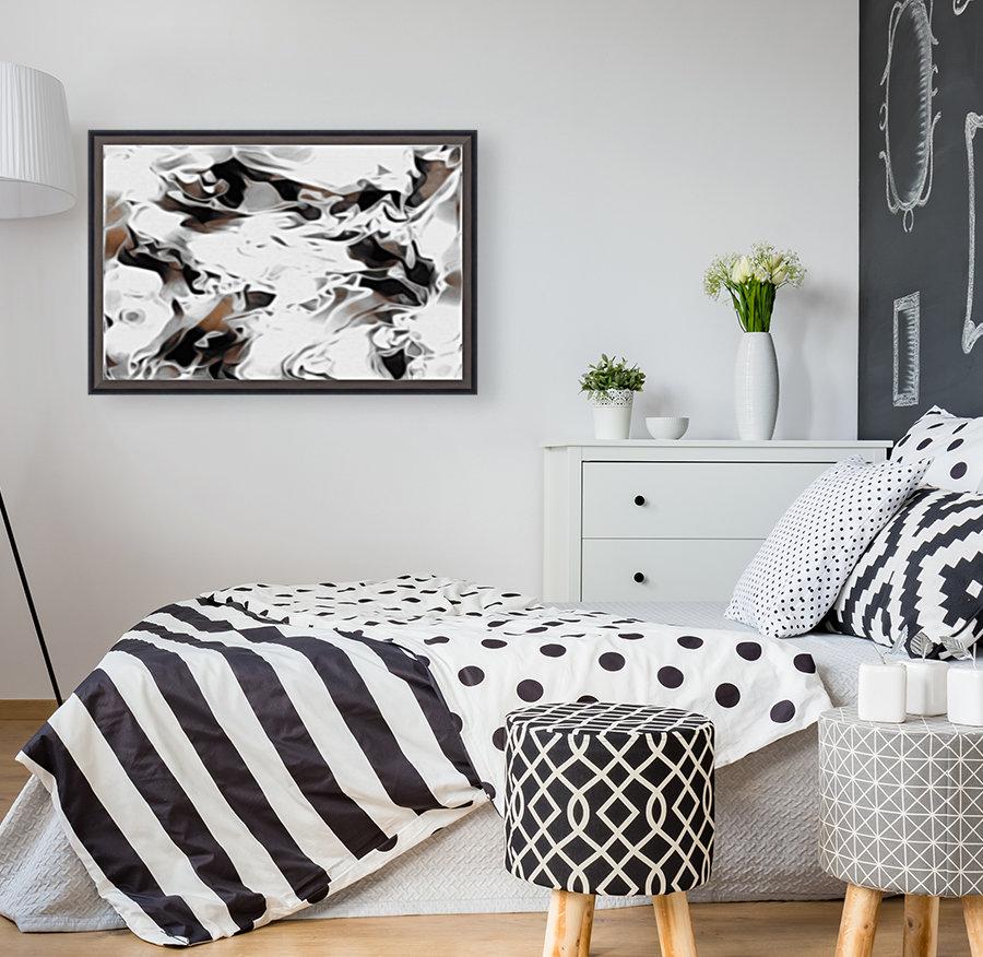 Brown Sugar & Coffee - brown grey white black swirls large abstract wall art  Art
