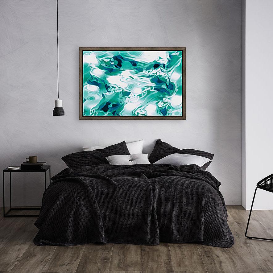 Mint Chocolate Chip Ice Cream - turquoise white blue black swirls large abstract wall art  Art