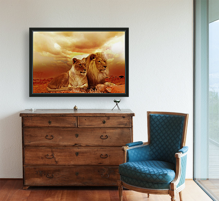lion safari africa landscape  Art
