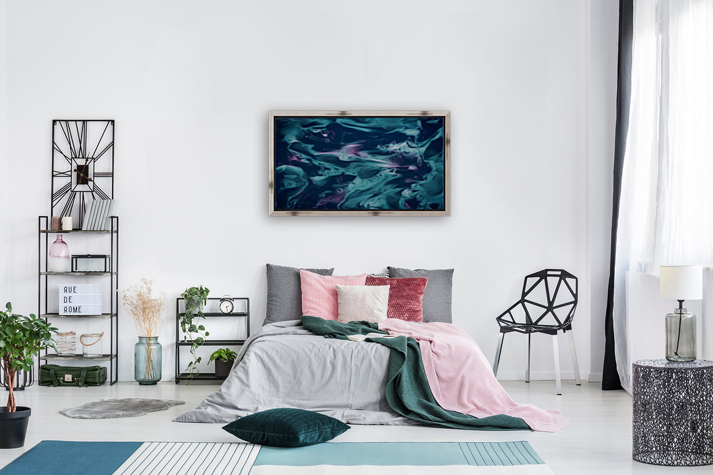 Magic Snake - turquoise blue purple swirls abstract wall art  Art