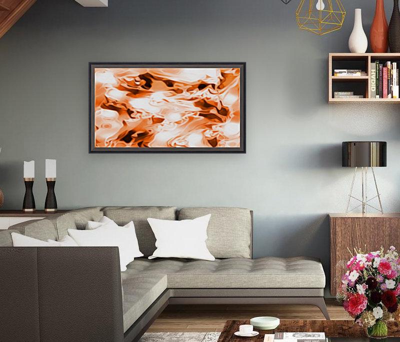 Orange Cream - orange black white swirls abstract wall art  Art