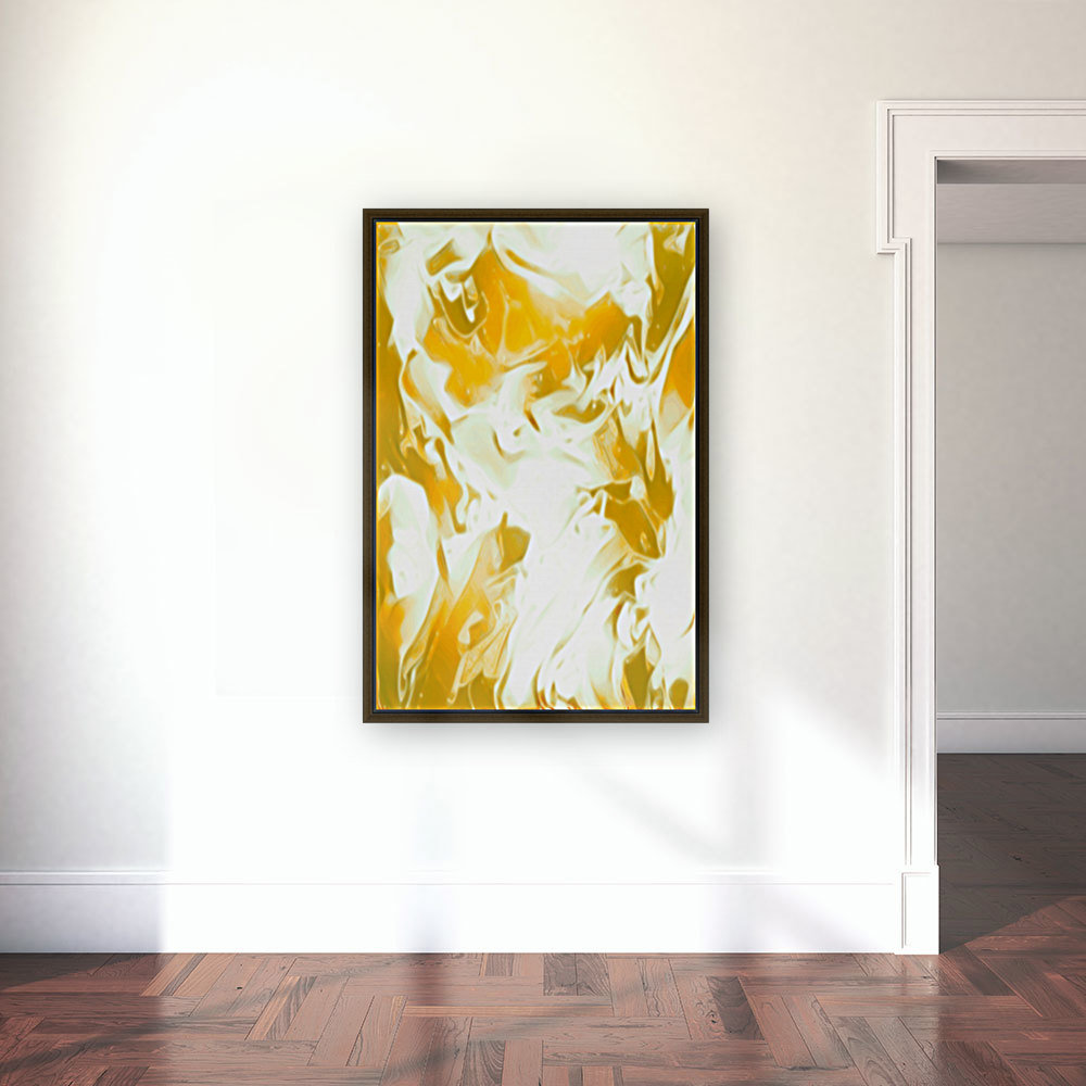 Abundant Aura - white gold swirls abstract wall art  Art