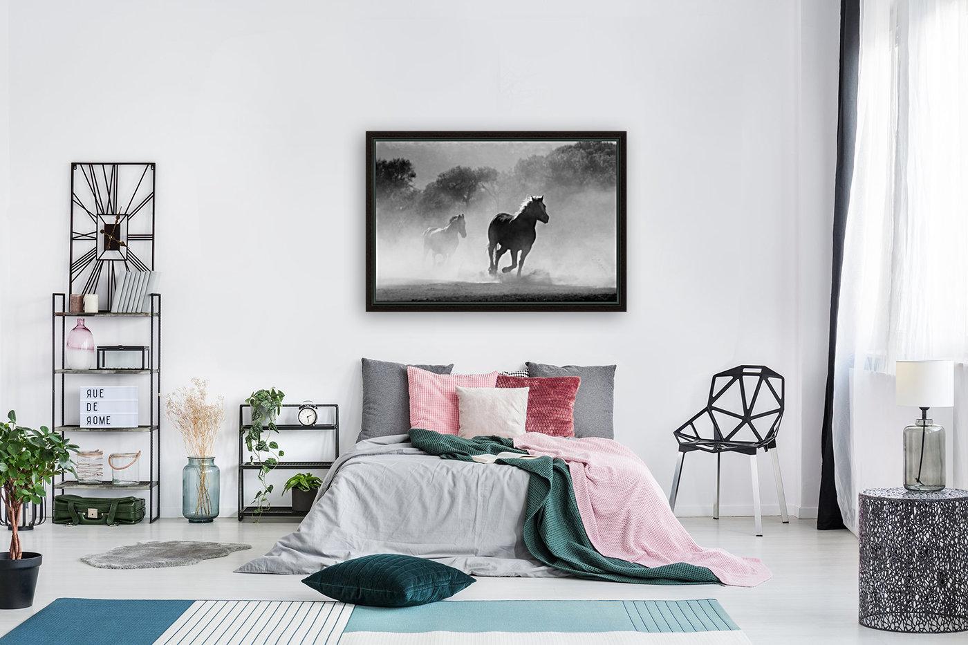 horse herd dust nature wild  Art