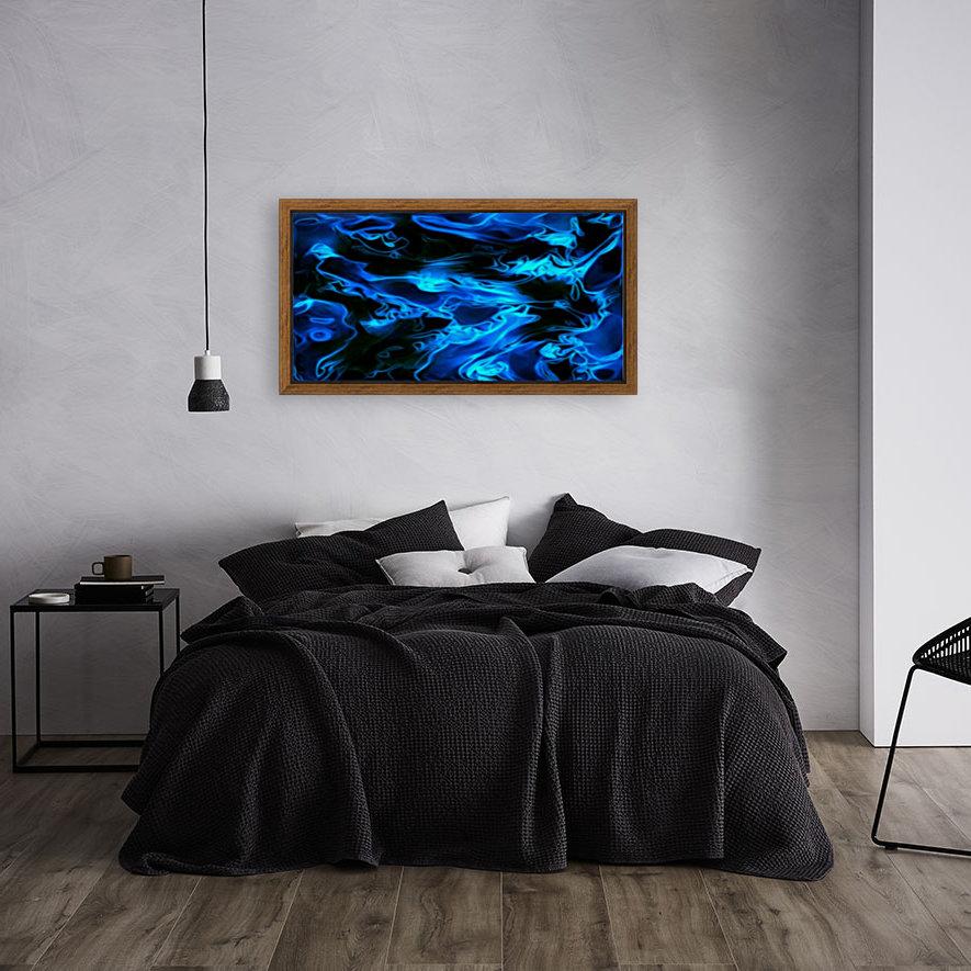 True Lightning - blue white black swirls abstract wall art  Art