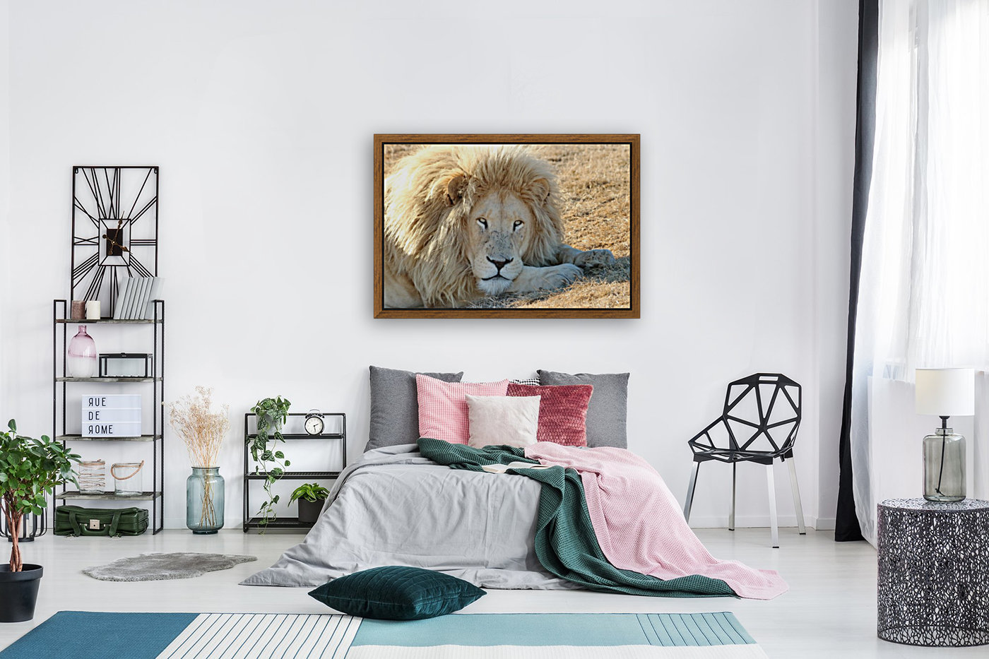 White Lion Portrait 913 with Floating Frame