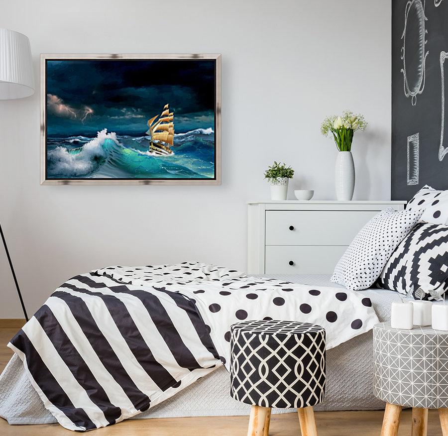 Hard way sailboat. sailing ship  Art