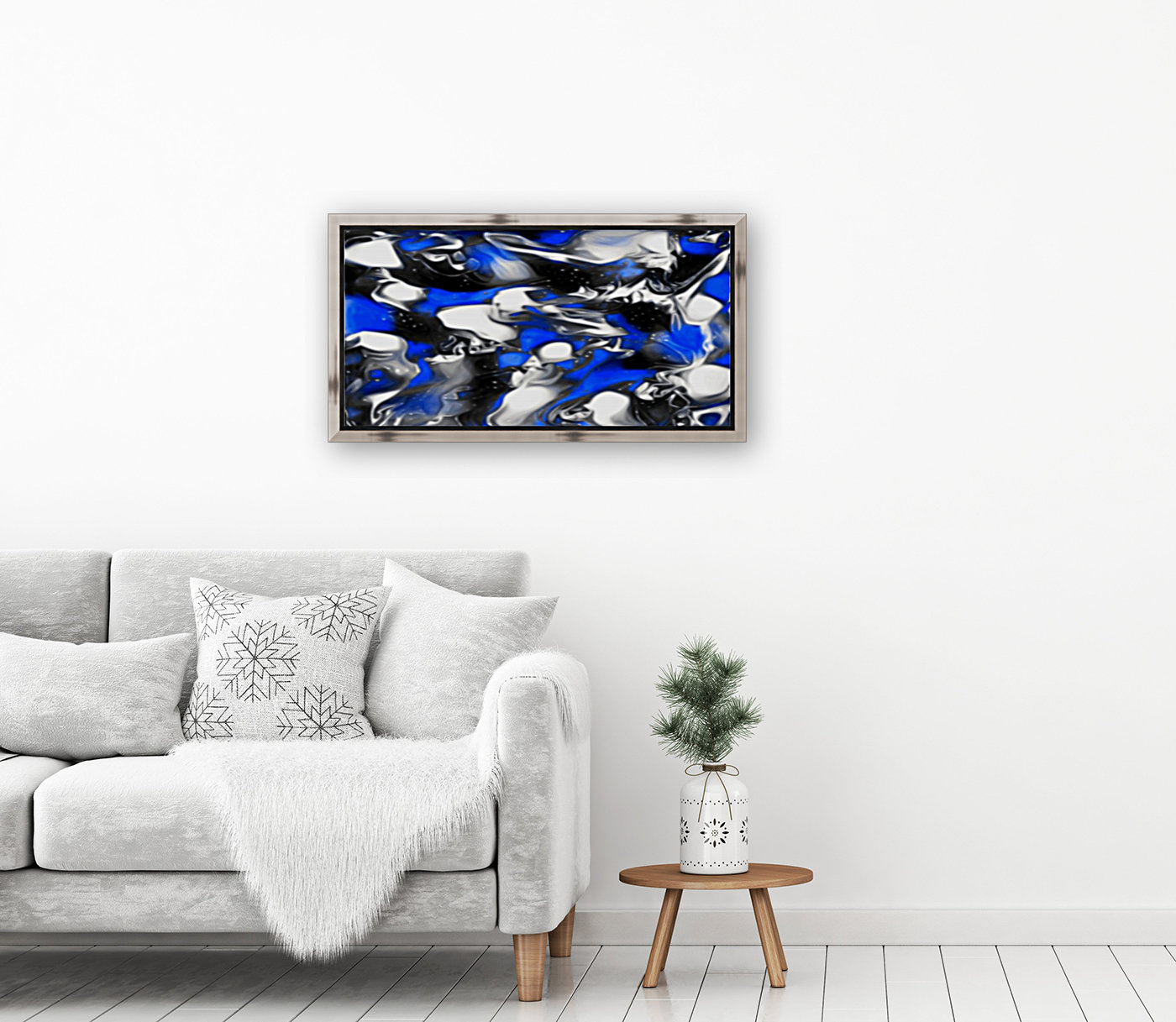Booster - blue white black silver spots swirls abstract wall art  Art