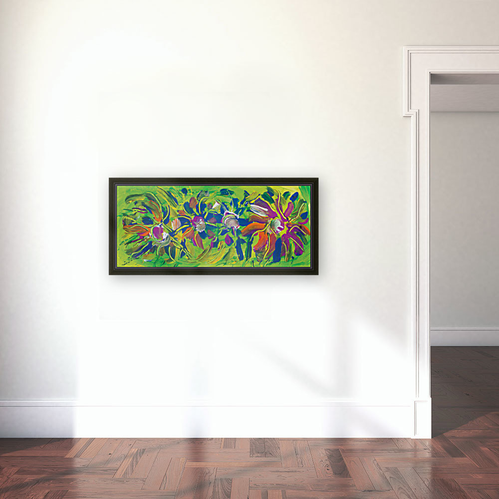 abstract multicolored flowers with Floating Frame