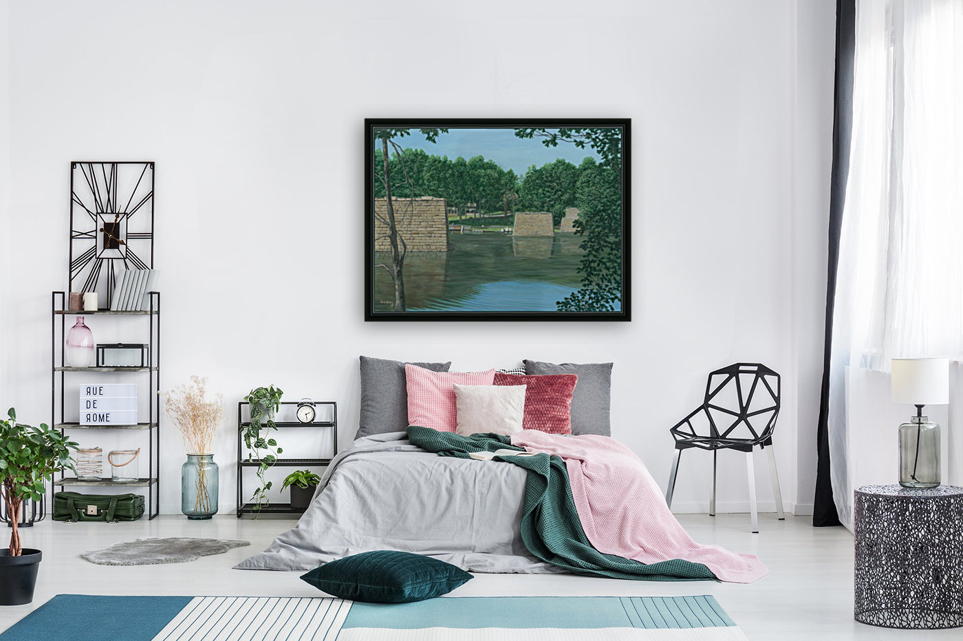 Stone Piers Housatonic River - Newtown Scenes 18 X 24  with Floating Frame