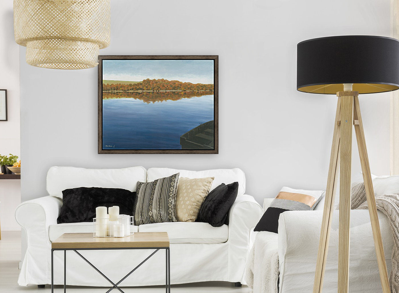Rowboat on Taunton Lake - Newtown Scenes 16X20 with Floating Frame