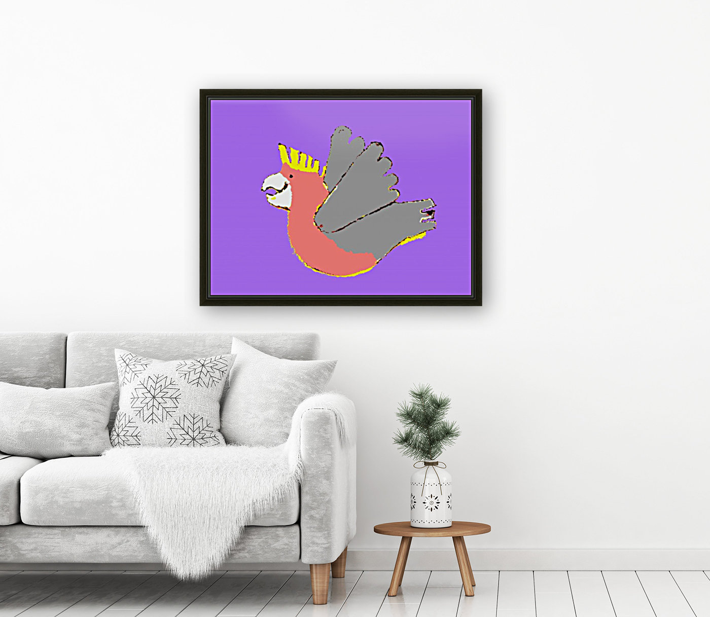 Happy Galah - Purple with Floating Frame