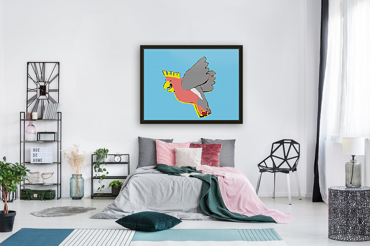 Laughing Galah - Blue with Floating Frame