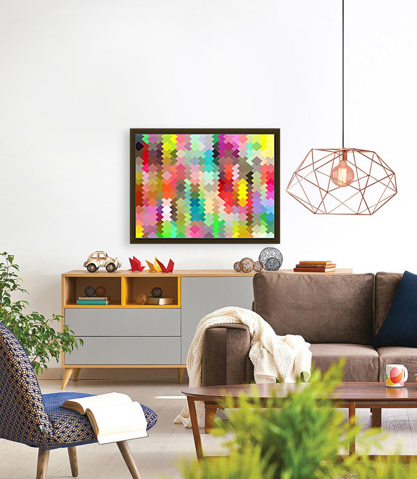 geometric square pixel pattern abstract in red blue green yellow  Art
