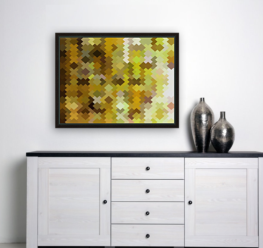 geometric square pixel pattern abstract in yellow and brown  Art