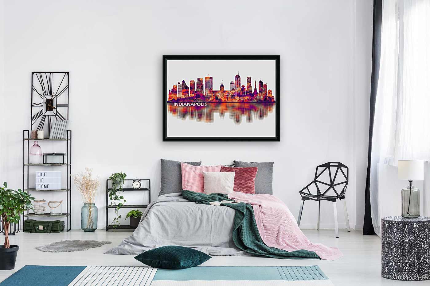 Indianapolis Indiana Skyline with Floating Frame