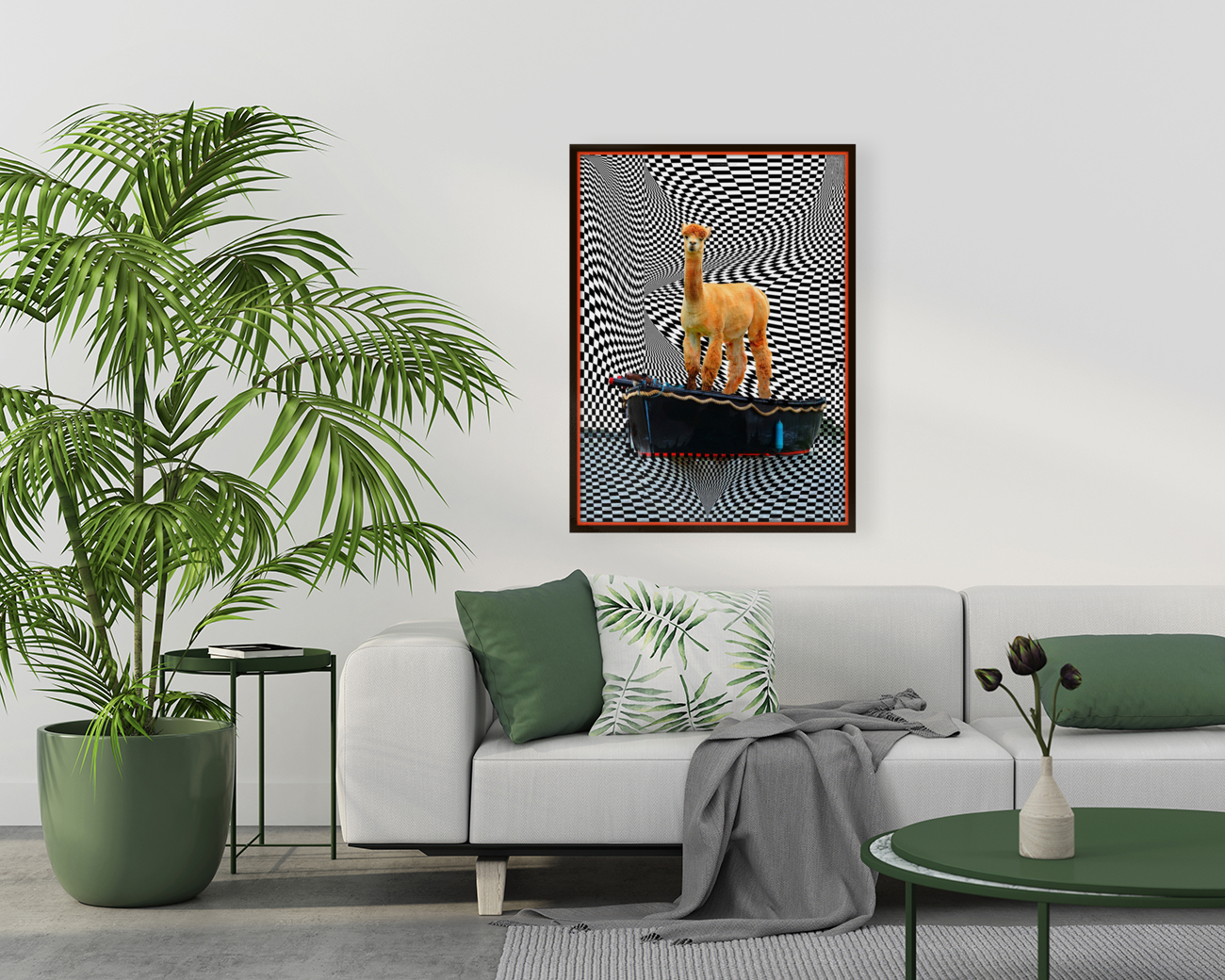 alpaca on a boat ride with Floating Frame