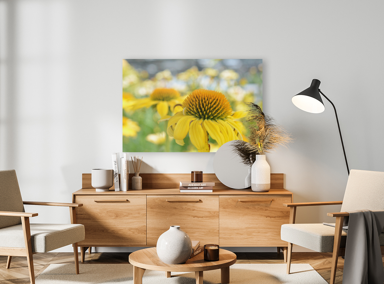 Yellow Flowers Photography with Floating Frame