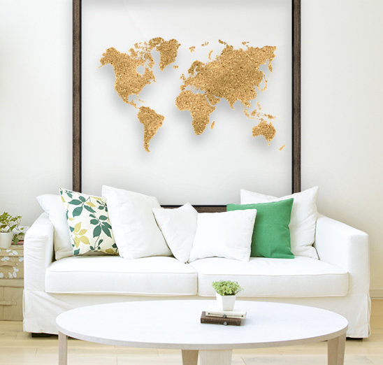 GOLD GLITTER WORLD MAP  Art