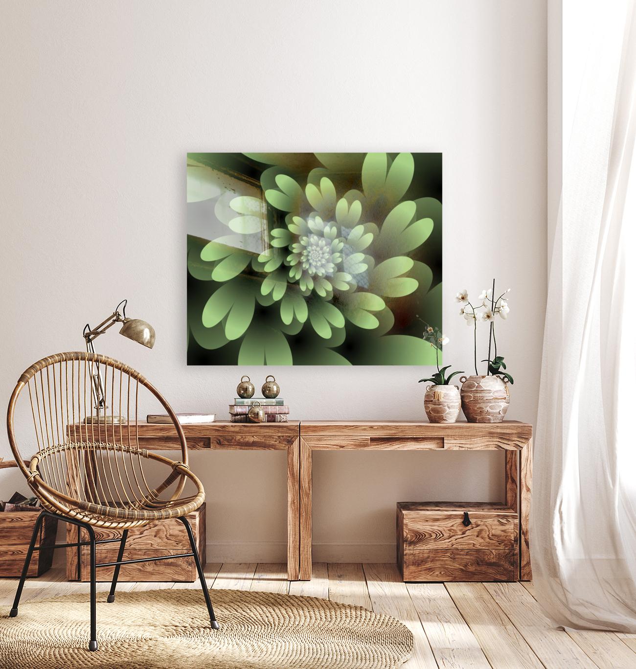 Green Floral Satin Wallpaper  Art