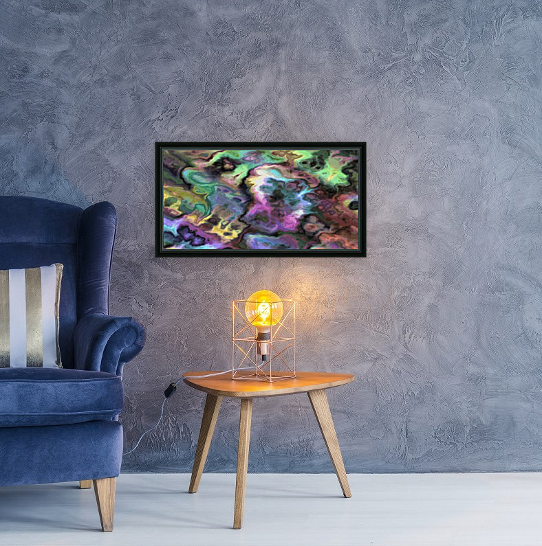 Dark Rainbow Marble multicolor abstract pattern wall art with Floating Frame
