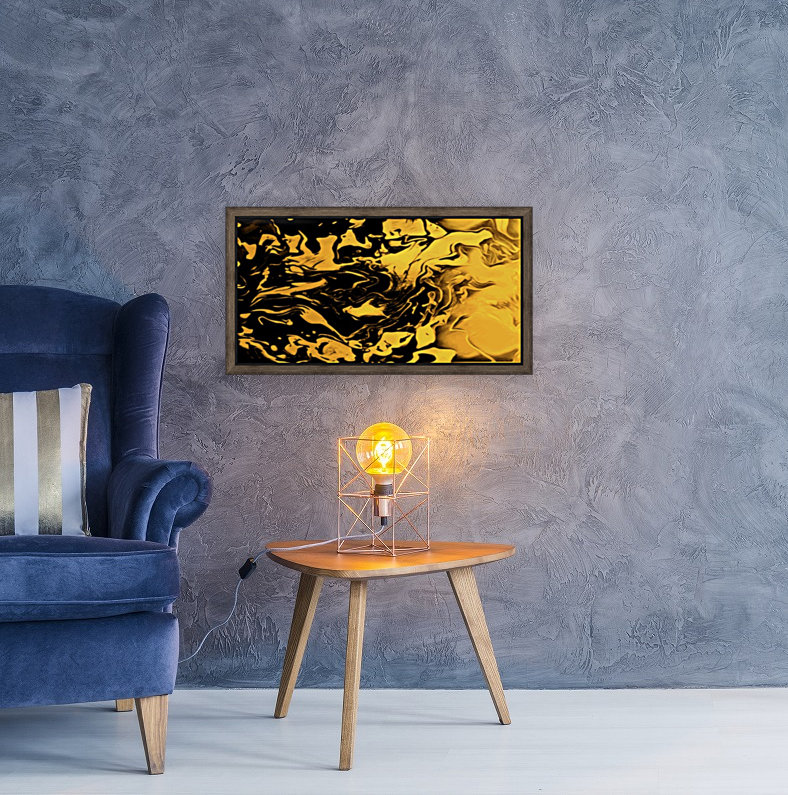 Richer fusion - gold and black gradient abstract wall art  Art