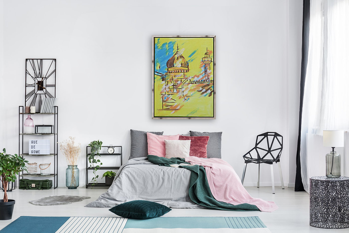 Ahson_Qazi_Geometrical_Islamic abstract artahson_qaziShades_of_DivinityIslamic_Artstretched canvass 12x16  Art