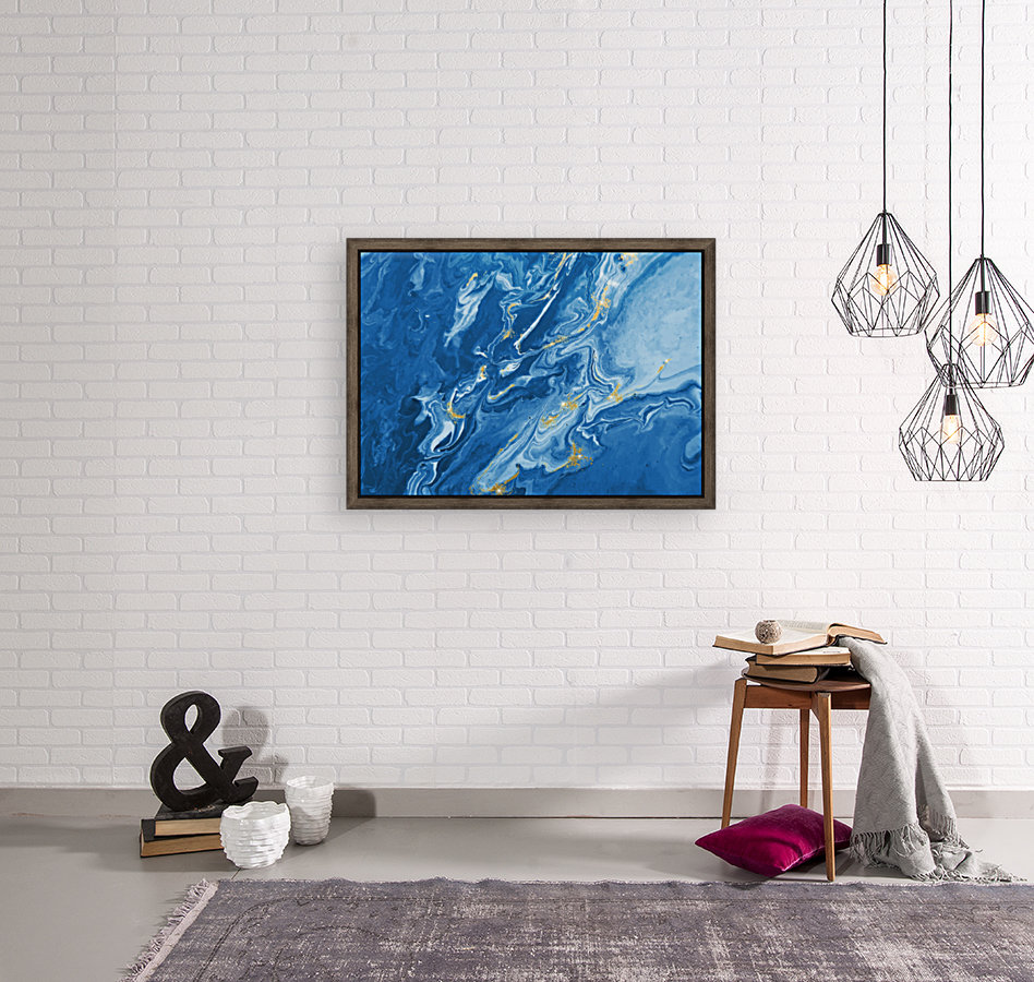 Blue Marble Print with Floating Frame