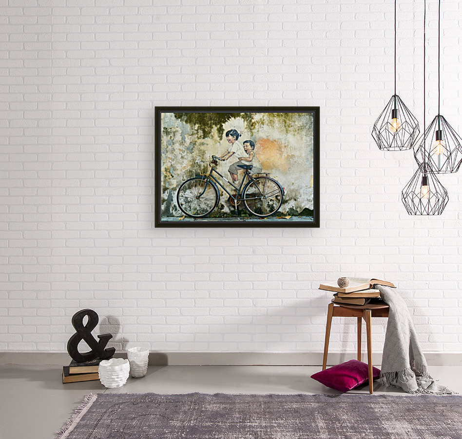 Kid And His Sister On A  Bicycle  Painting    Art