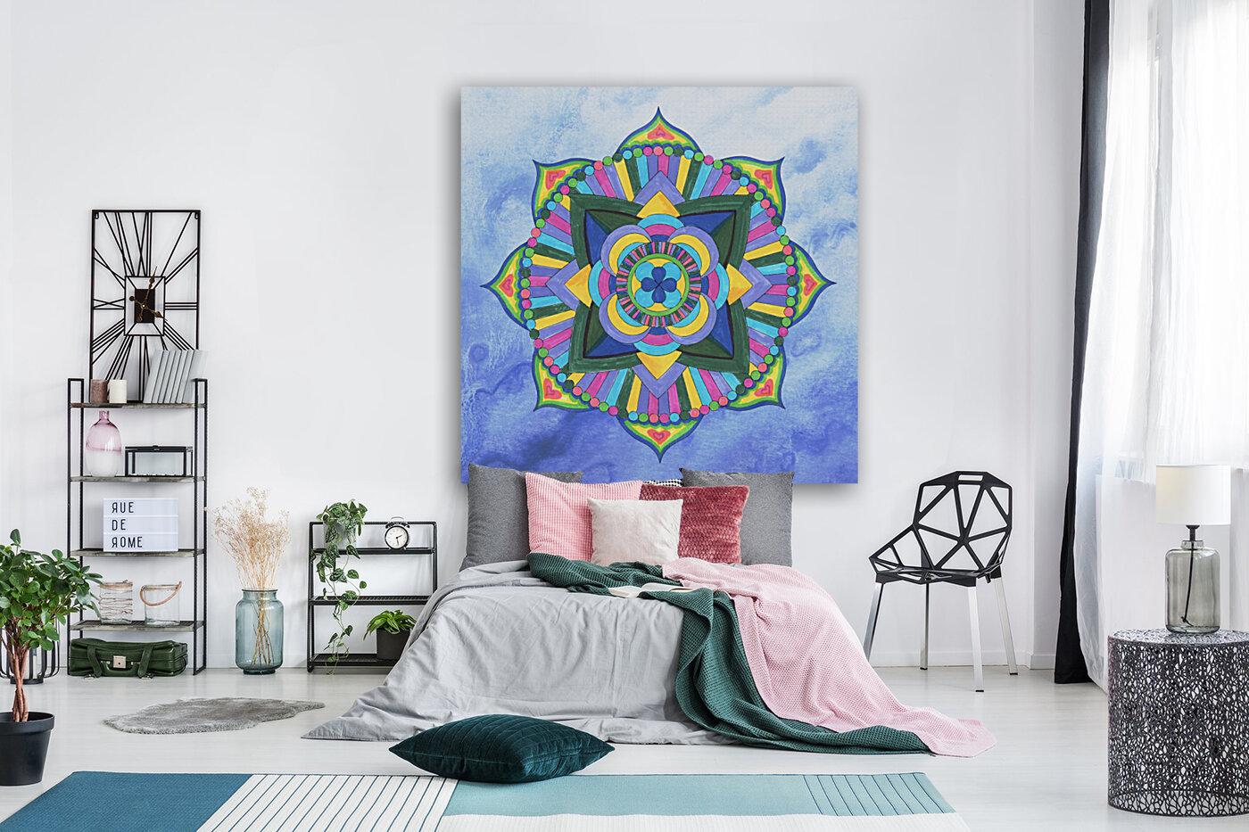 Hand Painted Mandala Watercolor Meditation on Blue  Art