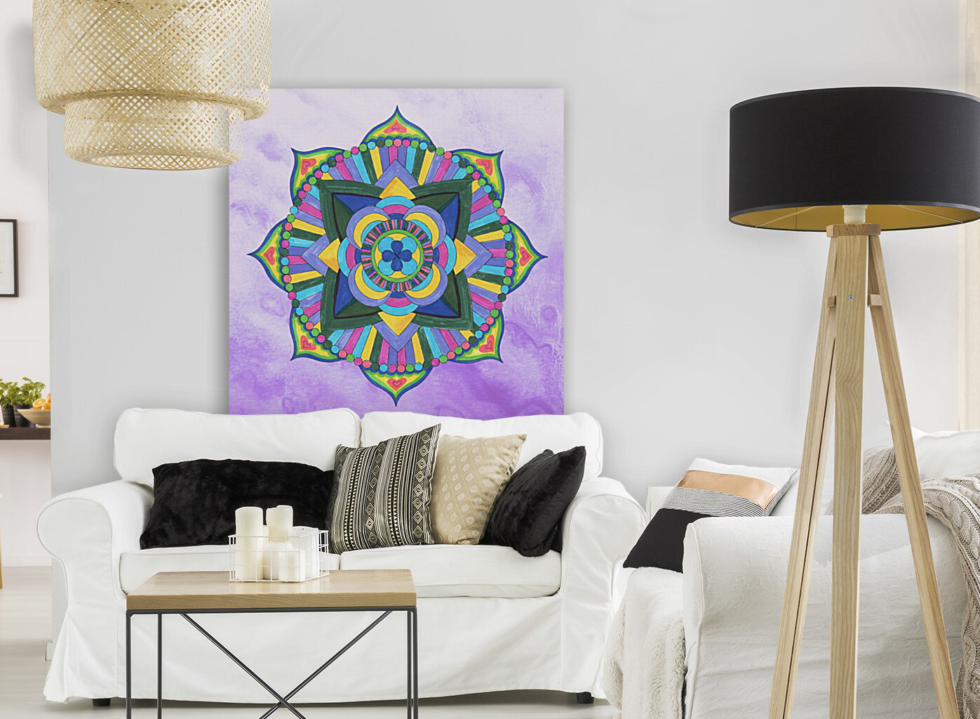 Hand Painted Mandala Watercolor Meditation on Purple with Floating Frame