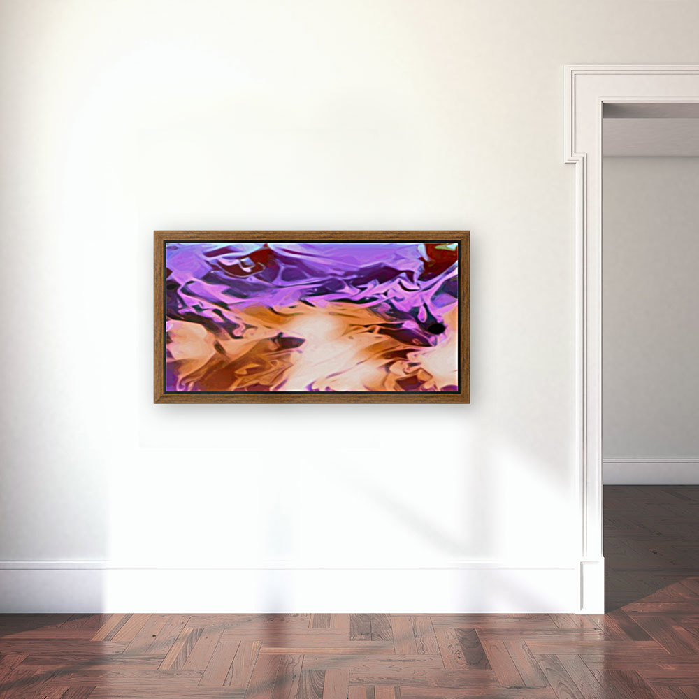 Daydreams - purplea white orange abstract swirls wall art with Floating Frame