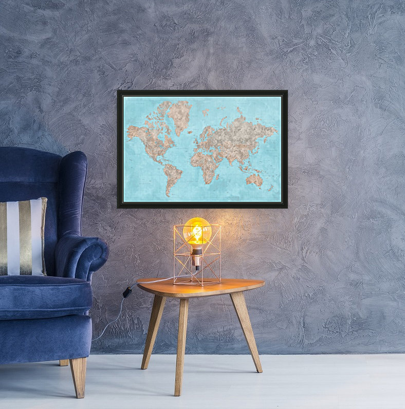 highly detailed watercolor world map in neutrals and light blue  Art