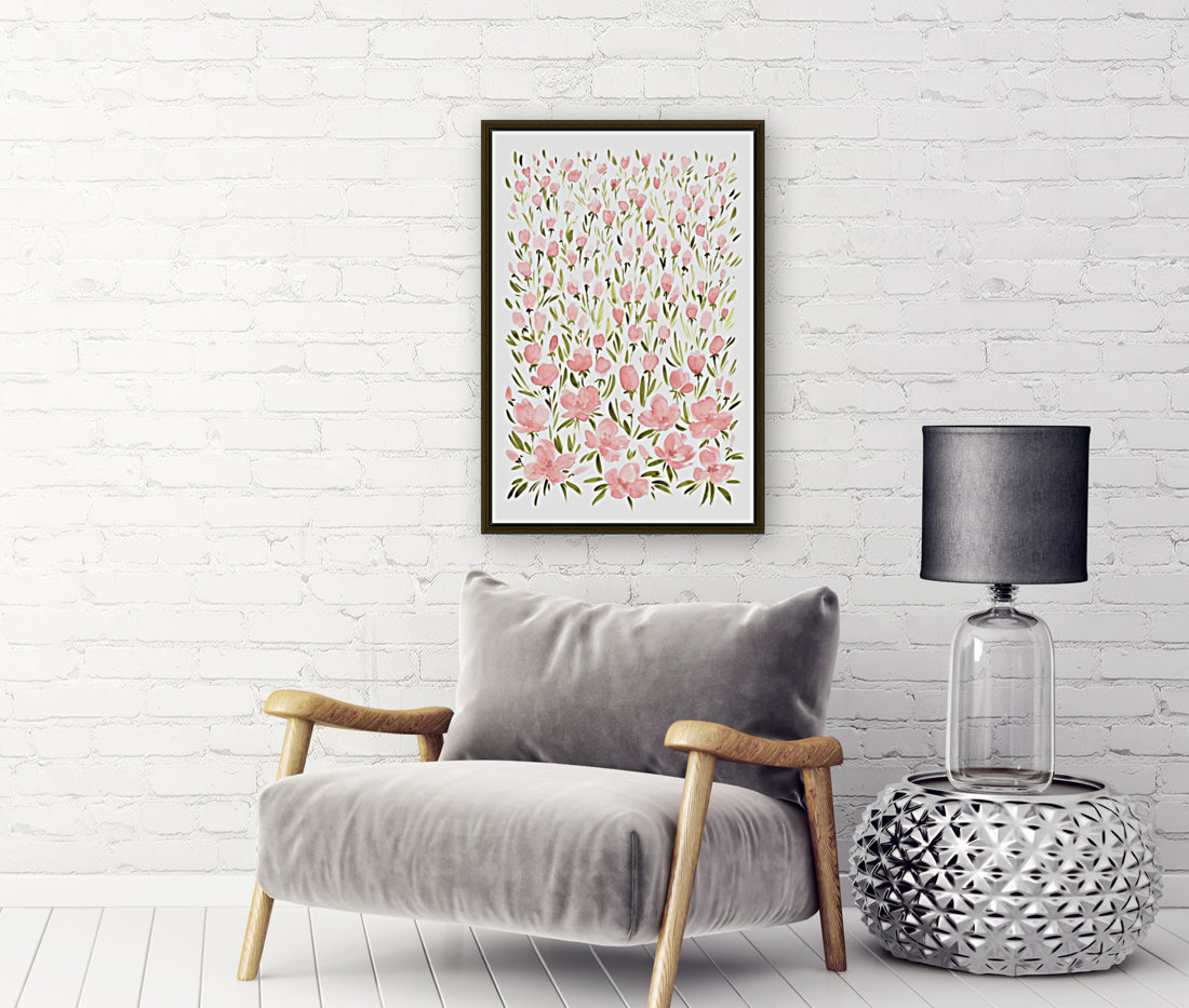 Field of pink watercolor flowers by blursbyai with Floating Frame