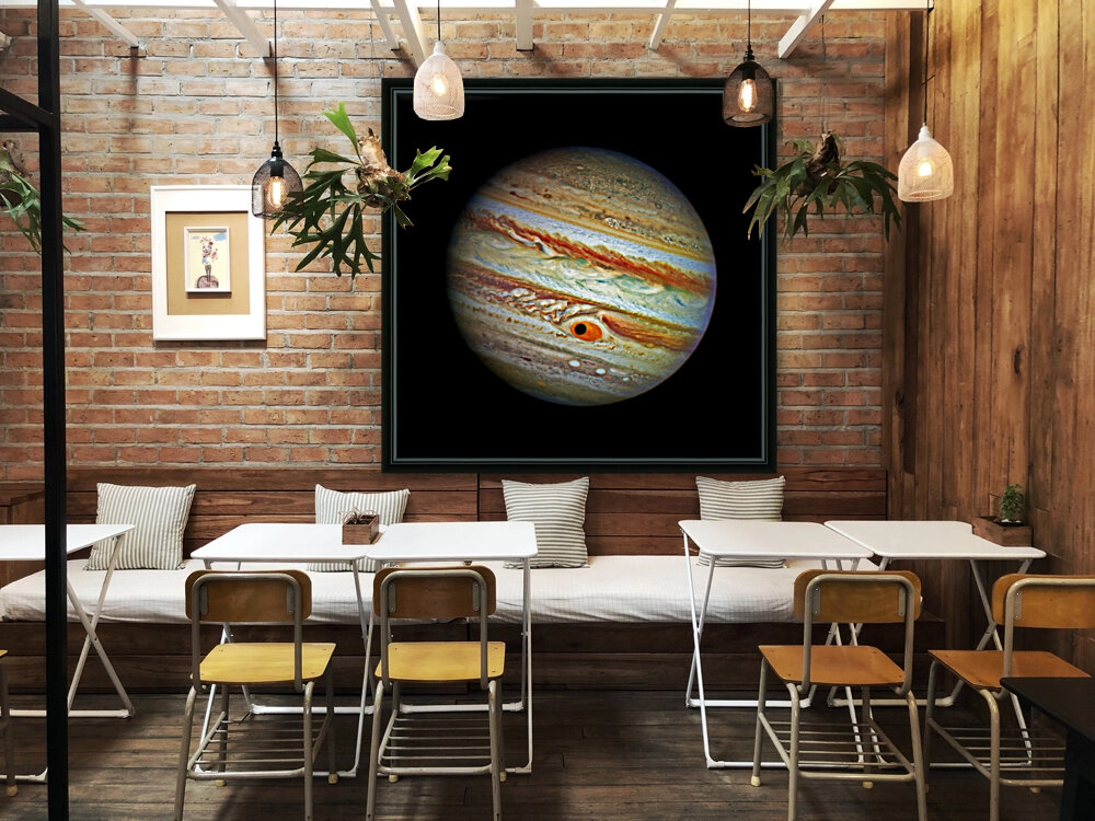 Jupiter with Ganymede Outer Space Image with Floating Frame