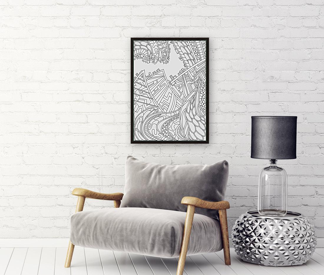 Wandering Abstract Line Art 01: Black & White  Art