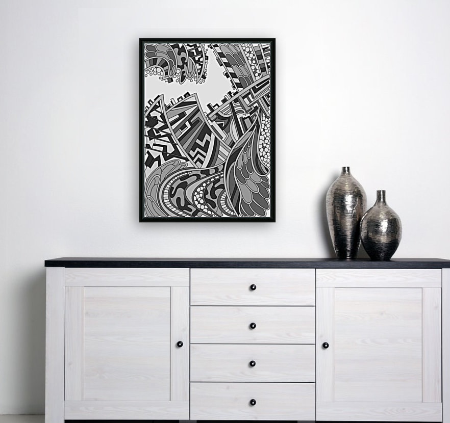 Wandering Abstract Line Art 01: Grayscale  Art