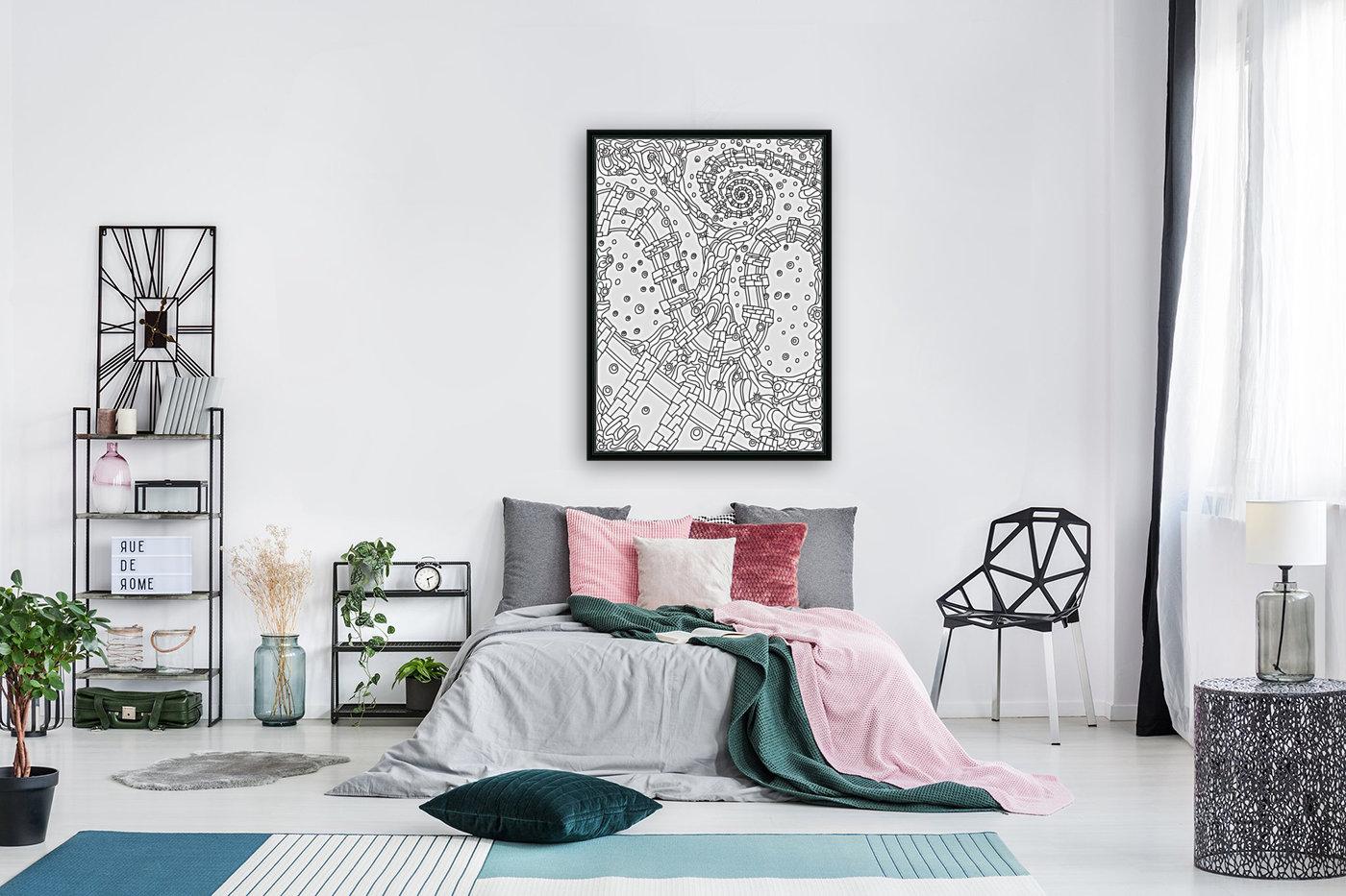 Wandering Abstract Line Art 02: Black & White  Art