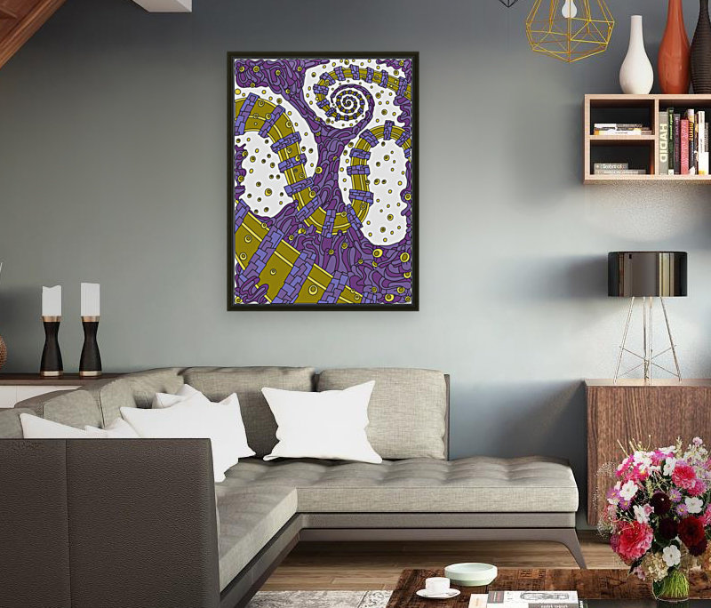 Wandering Abstract Line Art 02: Purple with Floating Frame