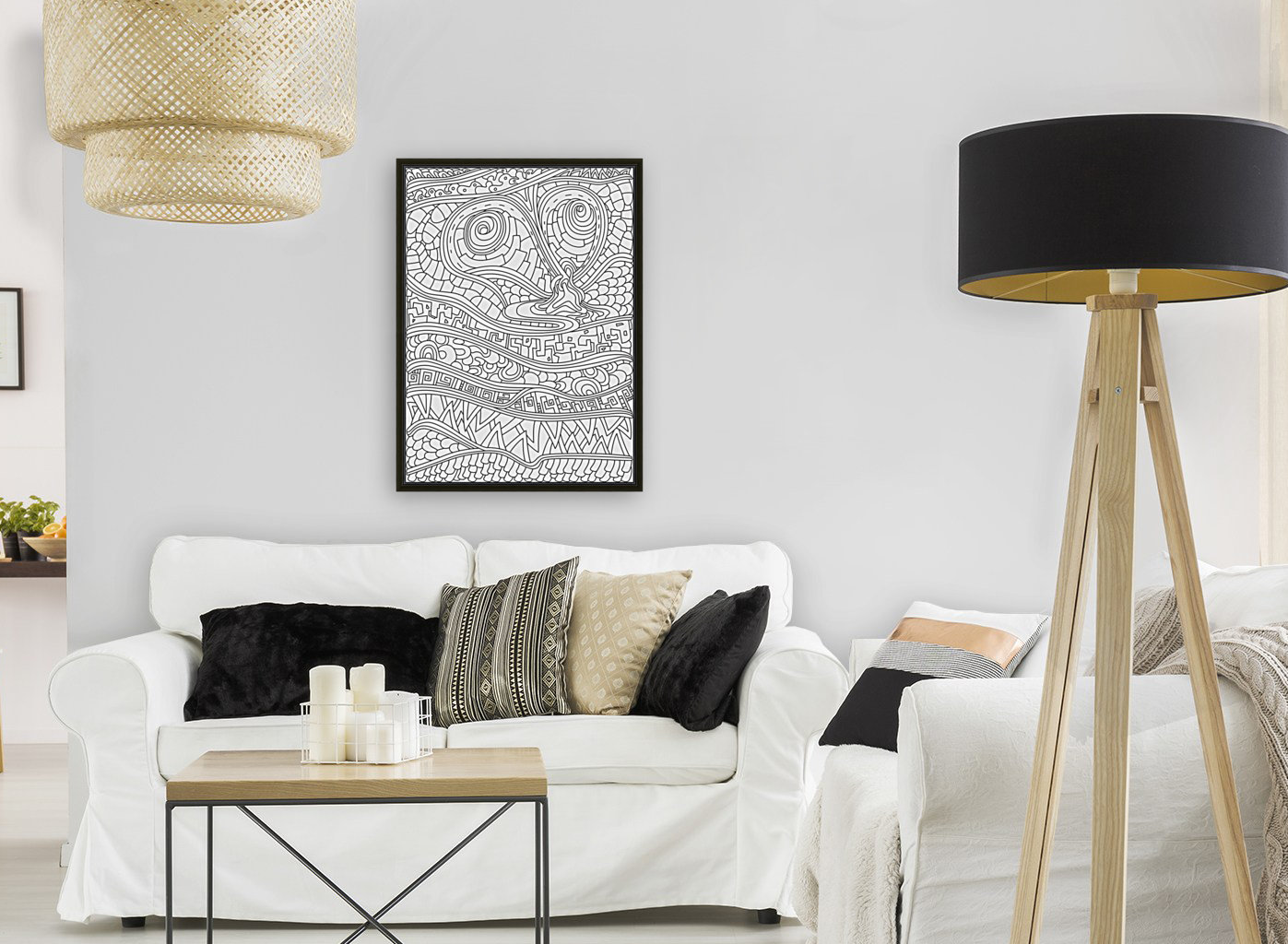 Wandering Abstract Line Art 03: Black & White  Art