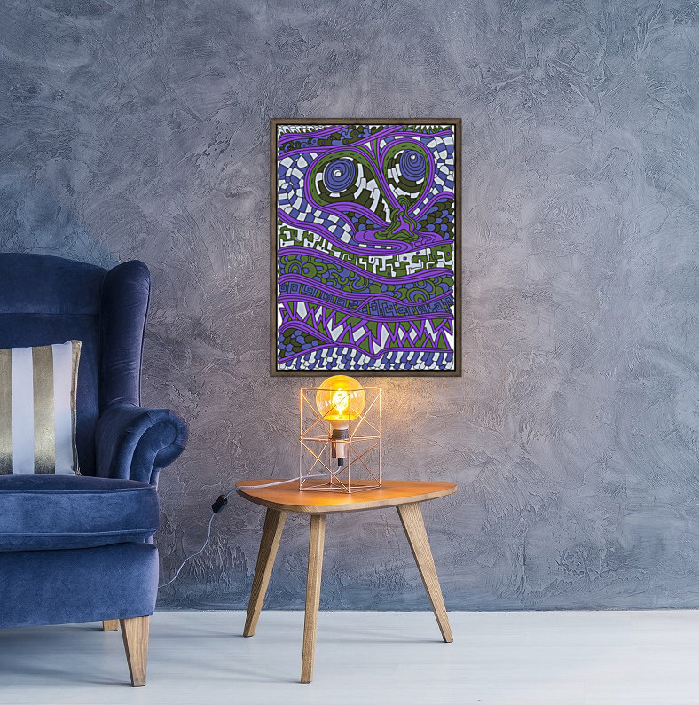 Wandering Abstract Line Art 03: Purple  Art