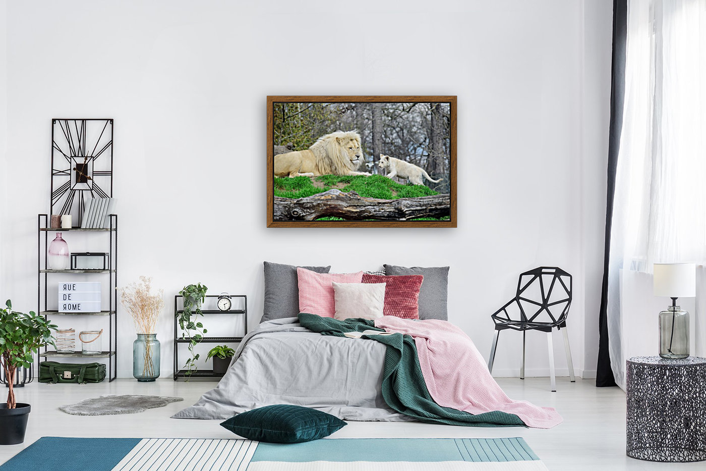 White Lion with Baby  Art