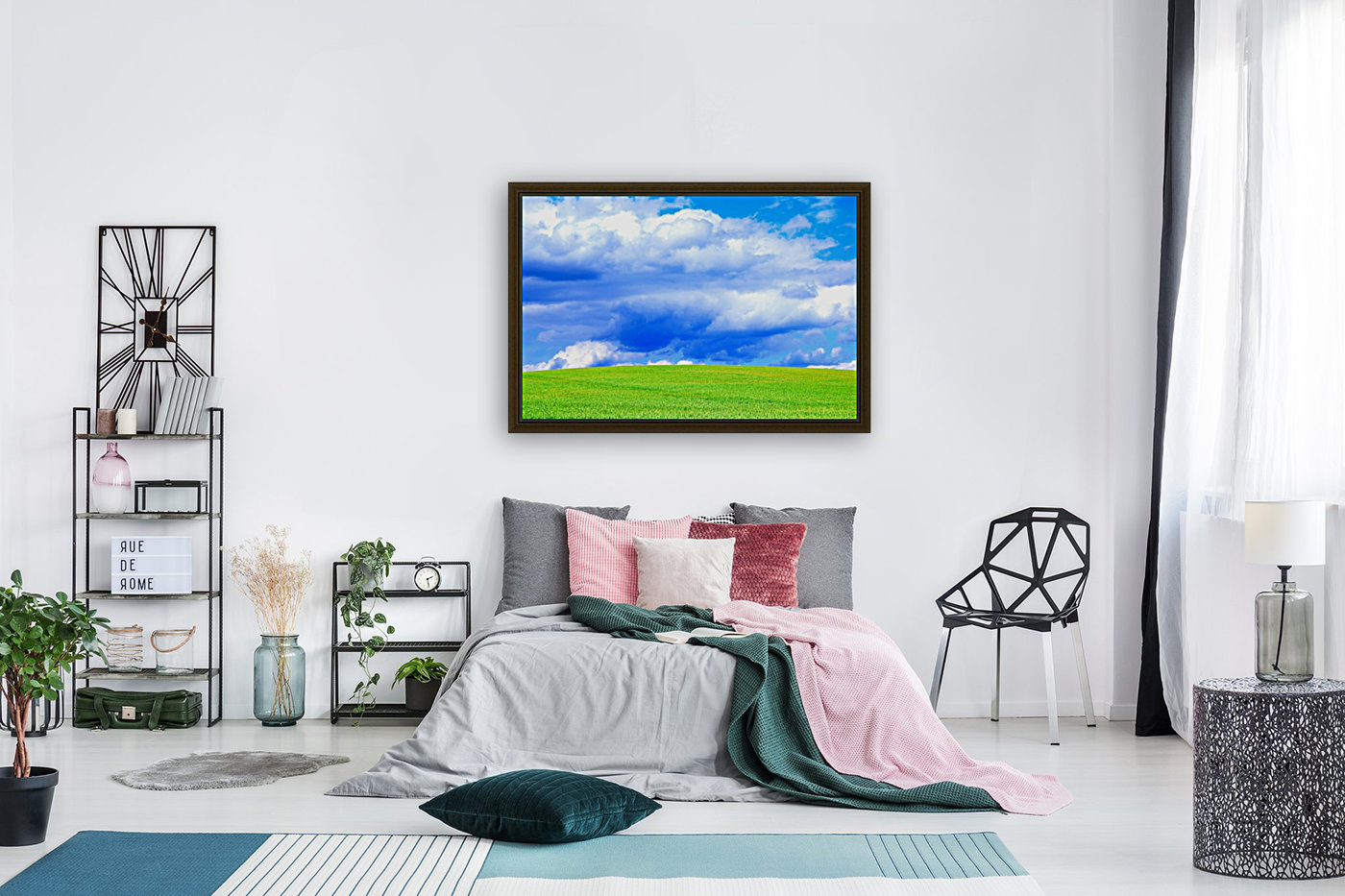 Blue Sky Clouds Field Bright Colorful Scenery Background   Art