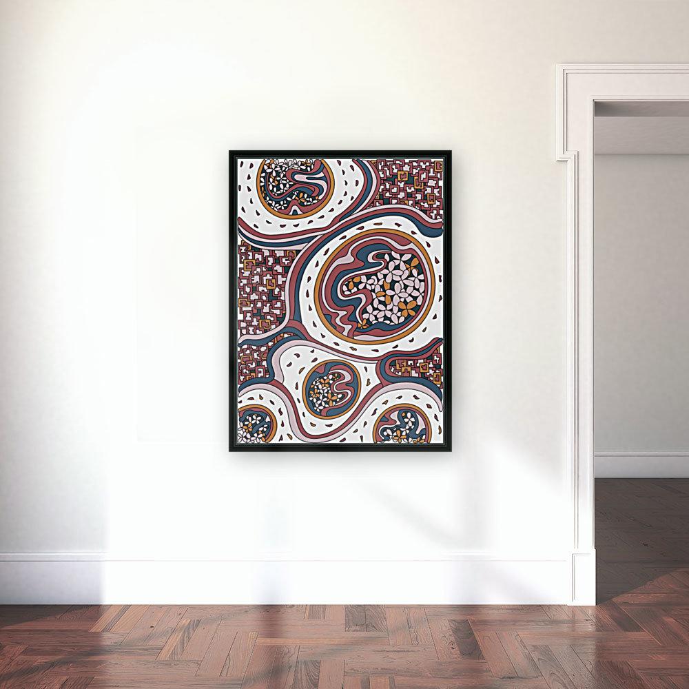 Wandering Abstract Line Art 06: Orange  Art