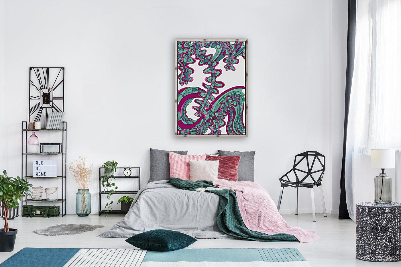 Wandering Abstract Line Art 07: Green  Art