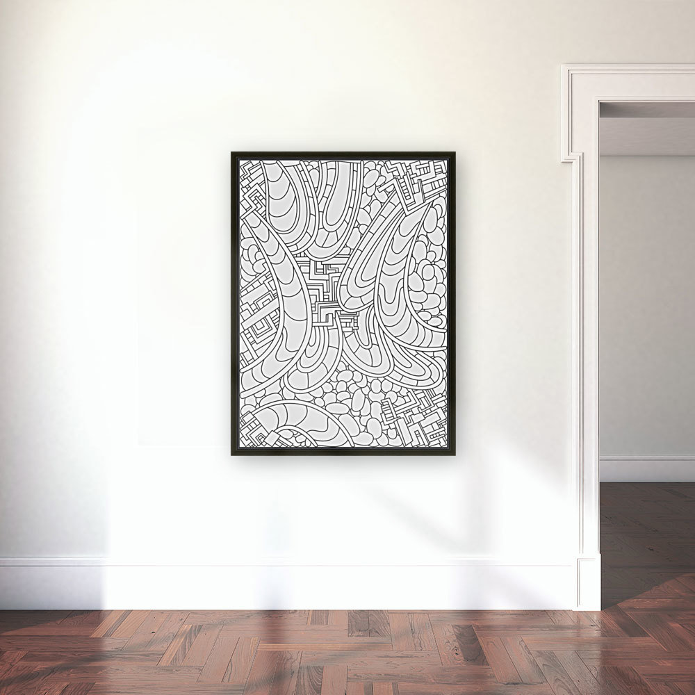Wandering Abstract Line Art 09: Black & White with Floating Frame