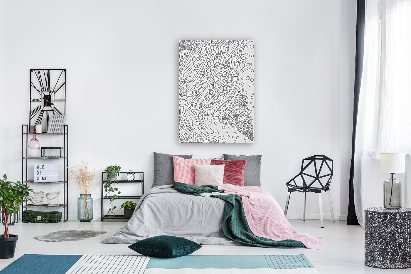 Wandering Abstract Line Art 11: Black & White  Art