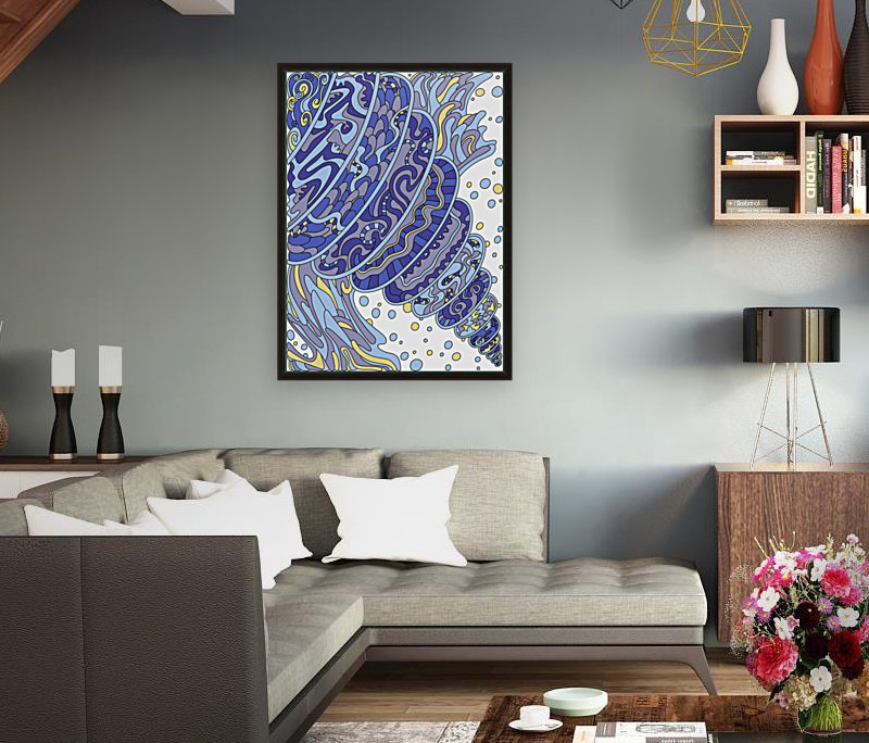Wandering Abstract Line Art 11: Blue  Art