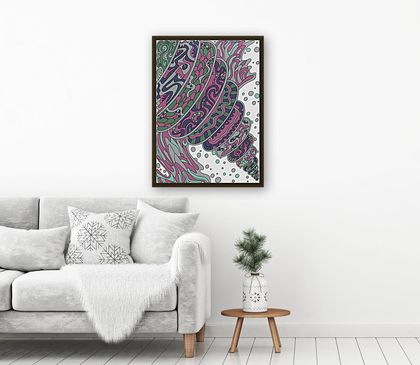 Wandering Abstract Line Art 11: Pink  Art