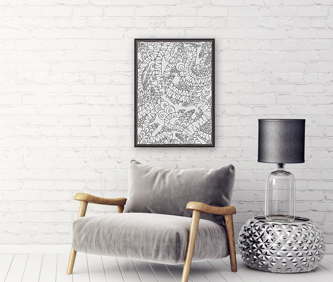 Wandering Abstract Line Art 13: Black & White  Art